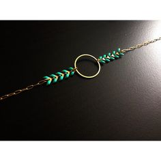 "Bracelet minimaliste ""Olympe"" - Cercle / Rond - Chaîne épis Mint - Bijoux G.emma…"