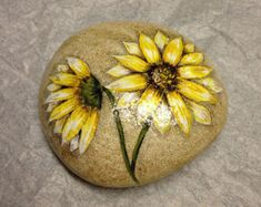 Hand Painted rock of yellow daisies