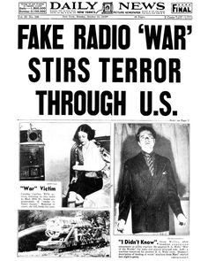 On Sunday, October 30, 1938, millions of radio listeners were shocked when radio news alerts announced the arrival of Martians. Many ran out of their homes screaming while others packed up their cars and fled. Though what the radio listeners heard was a portion of Orson Welles' adaptation of the well-known book, War of the Worlds by H. G. Wells, many of the listeners believed what they heard on the radio was real.