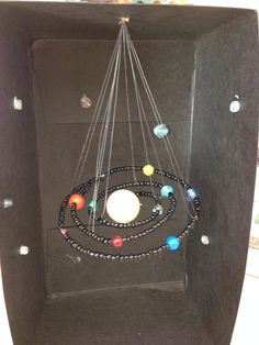 Solar system diorama made with beads! Shoe Box Diorama, Diorama Kids, Solar System Model Project, Solar System Projects, Science Experiments Kids, Science Fair, Science Projects, Space Projects, School Projects