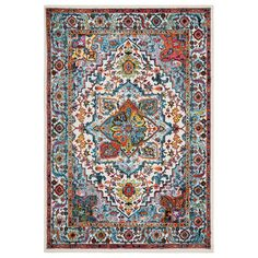 Fusion White / Blue (White/Blue) 7 ft. 9 in. x 9 ft. 5 in Indoor Area Rug
