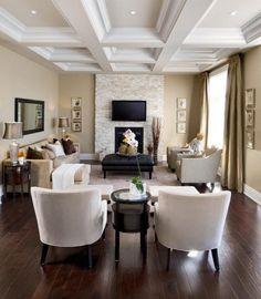 living room furnishings ideas brown accent wall cream corner sofa wood shelves