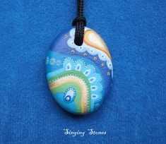 Hand painted stone necklace-Unique gift-Made with love in meditation-Heart warming-Something special-Unique Jewelry-Small present-Gift idea