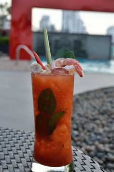 Bloody Tom Yum Goong- Vodka, tomato juice, Tabasco, Worcestershire sauce, salt & black pepper, lemongrass, chili, kaffir lime leaves, boiled shrimp.  http://www.asia-bars.com/2013/11/ambar-rooftop-lounge-bar-in-bangkok/
