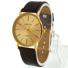 2013newestseller Golden Luxury Men's Leather Band Quartz Wrist Watches