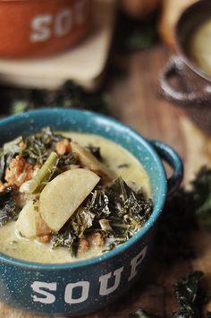 Spicy sausage potato kale soup