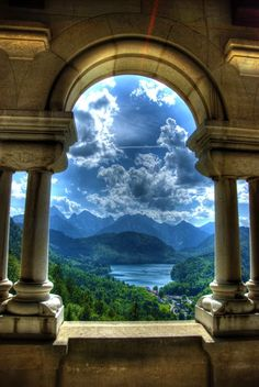 Rare view from inside the most photographed (exterior) castle in the world: Neuschwanstein Castle, Bavaria, Germany