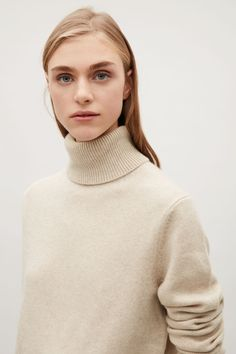 COS image 9 of Cashmere high-neck jumper in Sand