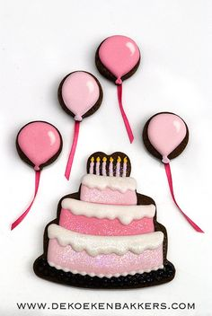 balloon cookies with ribbons