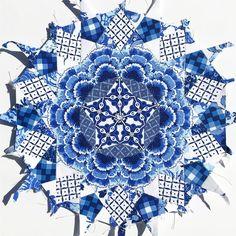 La Passacaglia using Katarina Roccella's In Blue Fabrics - Art Gallery Fabrics - English Paper Piecing - Sewing Quilting Fabric Art, Blue Fabric, Millefiori Quilts, Art Gallery Fabrics, English Paper Piecing, Design Crafts, Paper Goods, Needlework, Sew