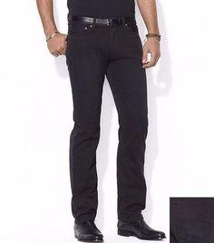 Polo Ralph Lauren men's Straight Fit CHINO Jean PANTS Five Pocket BLACK 34x30
