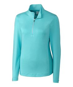 Take a look at this Turquoise DryTec Madeline Mock Neck Pullover today!