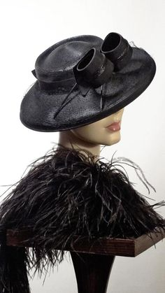 58446818c59 1930s Hat Wide Brim Black Cartwheel With Curls Old Hollywood Glamor Sz 7   WideBrim 1930s