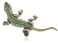 Green Enamel Painted Body Backing Topaz Crystal Rhinestone Lizard Brooch Pin Alilang. $7.99
