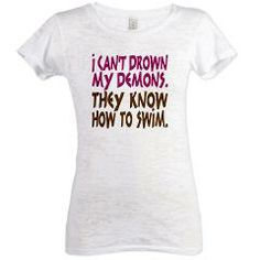 Funny Swamp Dragon Emporium Womens Burnout Tee> Drown my Demons Typography> Malarkey Pie - geeky t-shirt goodness