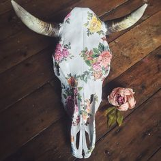 Rustic horned Mexican bull skull >->  <-< Delicately collaged by hand with brilliant florals >->  Dimensions: SKULL: Approx 48.5cm L x 42.5cm W