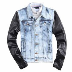 Wholesale and cool columbusbluejackets, jackets coats and long leather coats with a large variety of choices can be found here. Different kinds of new fashion men blue ripped jeans jacket leather sleeve vintage color casual distressed denim jacket leather patchwork q1659 can be provided by wo007.