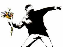 LEINWAND BANKSY Flower Thrower (ab) 18x24cm DRUCK