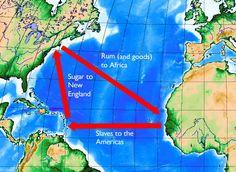 Atlantische Driehoekshandel - Handelsnetwerk tussen Europa, Afrika en Amerika waarin slaven, wapens, tabak, rum en suiker verhandeld werden door Europeanen.