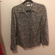 Floral button up blouse Black and white floral-ish patterned blouse 100% polyester Covington Tops Button Down Shirts