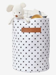 Runder Aufbewahrungssack aus Baumwolle von Vertbaudet in weiß/schwarz - Nur € 2,95 Versand! Babyzimmer jetzt bei Vertbaudet bestellen!