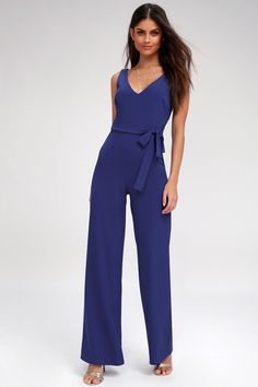 5965a3ae67437 The Screenplay Royal Blue Tie-Back Jumpsuit is here to make its