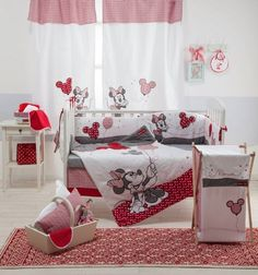 The Disney Red Minnie Mouse Crib Bedding Set is perfect for your baby's bedroom. The quilt is sure to keep your baby cozy and warm all night and features appliqués depicting Minnie Mouse, while the fitted sheet provides a soft sleep surface for your baby. Baby Girl Crib Bedding, Girl Cribs, Nursery Bedding Sets, Baby Cribs, Comforter Sets, King Comforter, Minnie Mouse Crib Set, Minnie Mouse Room Decor, Mickey Mouse Nursery
