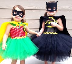 Batman and Robin Superhero Tutu Dress Halloween Costumes SOLD AS SET for Siblings or Friends Birthday Party on Etsy, $155.00