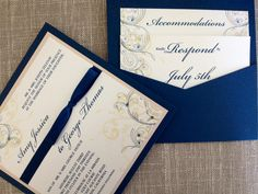 Custom Smoke Blue & Gold Wedding Invitation www.erickagracedesigns.com