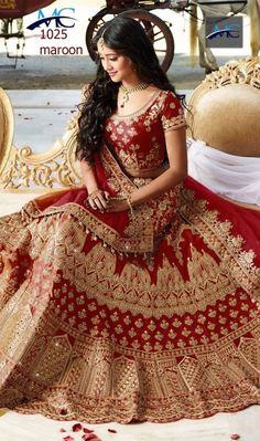 Red And Gold Colour Taffeta Silk Fabric Party Wear Lehenga Choli Comes with matching blouse. This Lehenga Choli Is crafted with Thread Work,Dori Work,hand Work This Lehenga Choli Comes with Unstitched. Lehenga Choli Designs, Lehenga Choli Wedding, Indian Bridal Lehenga, Party Wear Lehenga, Latest Bridal Lehenga, Ghagra Choli, Sharara, Pakistani Bridal, Indian Bridal Outfits