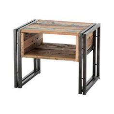 """Table de chevet """"Samudra""""  bois recyclé avec variation de teinte  50 x 40 x 40 cm"""