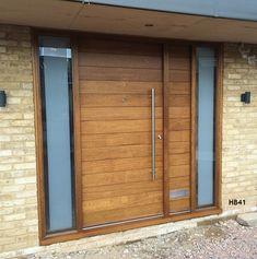 Contemporary Front Doors, oak iroko and other woods, Bespoke Doors Oak Front Door, Front Door Porch, House Front Door, House With Porch, Front Porches, Modern Entrance Door, Modern Front Door, Entrance Doors, Main Door Design