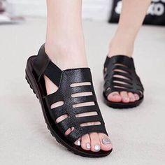 c3aace5cace9  falloutfits  AdoreWe  BerryLook -  berrylook Plain Flat Peep Toe Casual  Sandals - AdoreWe.com