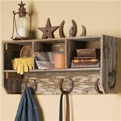 horse shoe cubby and holder for jackets. towels. or whatever