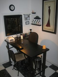 Soapstone Manicure table, with vent, and custom steel base   http://weheartnails.com/manicure-tables/
