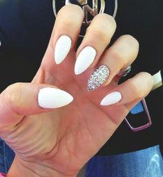 White jewel nail design