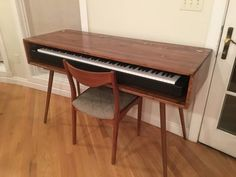 Mid Century Style Keyboard Stand Desk Made to Order 90 Days, Yamaha P 45 88 Key Weighted Action Digital Piano Wood, Piano Piano Table, Piano Desk, Keyboard Piano, Piano Room, Music Desk, Solid Wood Furniture, Handmade Furniture, Diy Furniture, Electric Keyboard