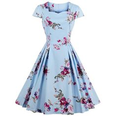 Floral Print Pleated Vintage Dress (182.975 IDR) ❤ liked on Polyvore featuring dresses, vintage dresses, floral print dress, flower print dress, blue dress and floral dresses