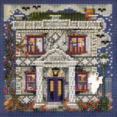 Stitched Area of Haunted Library Cross Stitch Kit Mill Hill  - $10.99