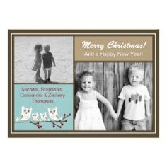 4 Christmas Owls Holiday Greeting Card