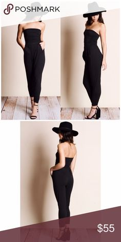 Black Off Shoulder Strapless Jumpsuit Black Off Shoulder Strapless Jumpsuit. 2 pockets, 95% Rayon 5% spandex. Small 2/4, medium 6/8, large 10/12. Fits true to size. Aluna Levi Pants Jumpsuits & Rompers