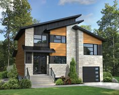 37 Stunning Contemporary House Exterior Design Ideas You Should Copy - Today, contemporary house plans are very intelligently designed to give utmost comfort to the people. These plans not only feature flexible floor spac. Contemporary Style Homes, Contemporary House Plans, Modern House Plans, Modern House Design, Contemporary Architecture, Architecture Design, Architecture Facts, Sustainable Architecture, House Roof