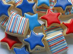 Red, White & Blue minis inspired by Sugarbelle Mini Cookies, Easter Cookies, Sugar Cookies, Decorator Frosting, One Smart Cookie, Happy Birthday America, Summer Treats, Bake Sale, Red White Blue