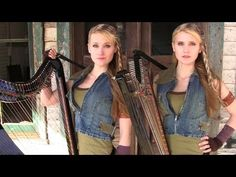 The WALKING DEAD Theme (Electric Harp Duet) Camille and Kennerly, Harp Twins