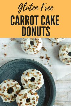 Delicious Gluten Free Carrot Cake Donuts: Send your taste buds into overdrive with mouthwatering donuts topped with cream cheese glaze. Gluten Free Carrot Cake, Gluten Free Donuts, Gluten Free Snacks, Gluten Free Breakfasts, Vegan Gluten Free, Gluten Free Recipes, Vegan Recipes, Homemade Cream Cheese Icing, Donut Recipes