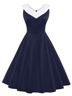 Women's Vintage Polka Dots Cap Sleeve Cocktail Formal Swing Dress (Navy, 2XL) at Amazon Women's Clothing store: