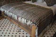 Handira: The back of a rare Beni Ouarain wedding Blanket from Beyond Marrakech , complete with shoulder straps