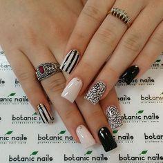beige-nails-with-black-patterns via  nail designs - nail arts