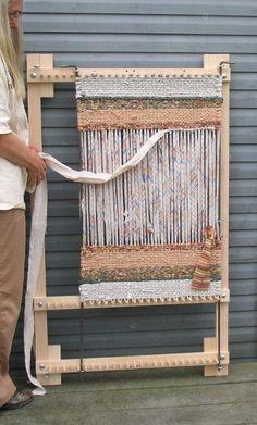 Telar de hermanamiento ajustable para alfombras, manteles individuales o caminos de mesa en arce sólido, hecho a mano en Pennsylvania