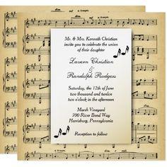 #Antique Sheet Music Theme Wedding Invitation - #weddinginvitations #wedding #invitations #party #card #cards #invitation #vintage